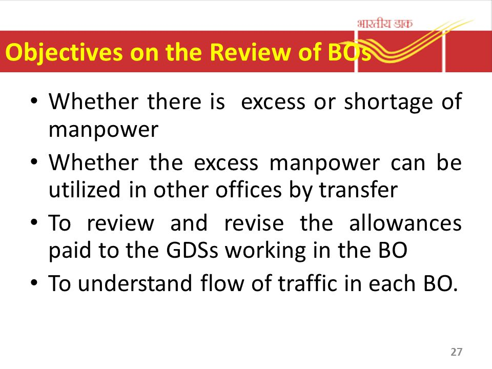 Objectives on the Review of BOs