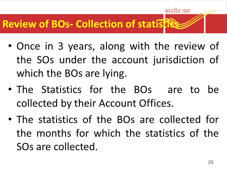 Review of BOs- Collection of statistics