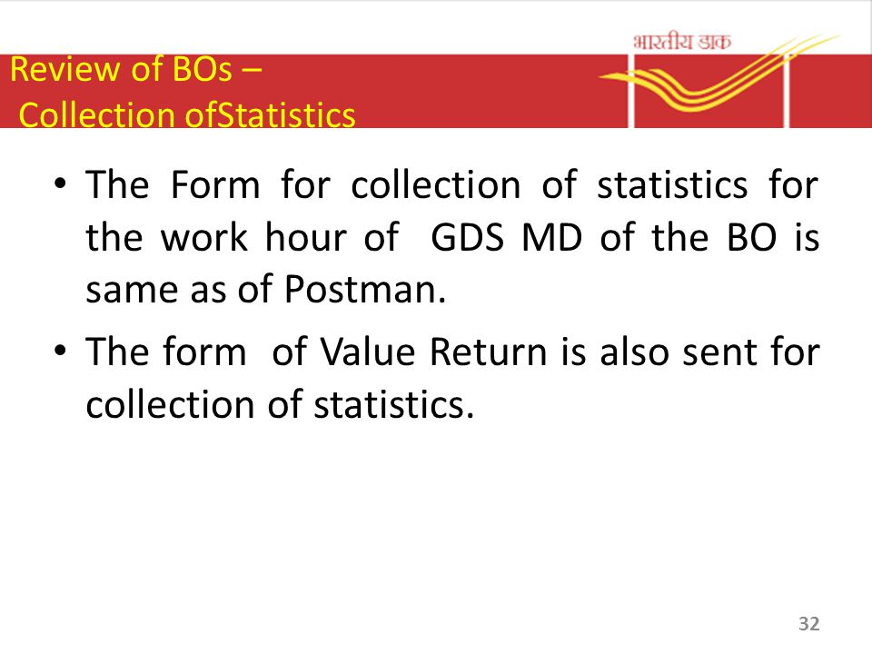 Review of BOs – Collection ofStatistics
