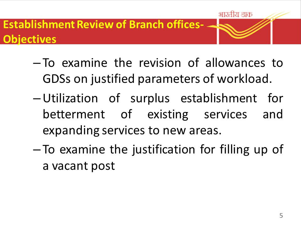 Establishment Review of Branch offices- Objectives