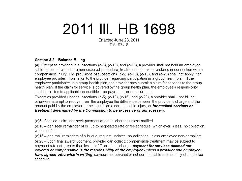2011 Ill. HB 1698 Enacted June 28, 2011 P.A. 97-18 Section 8.2 – Balance Billing.