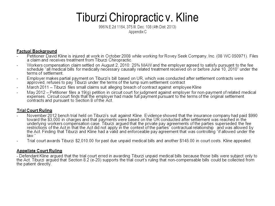 Tiburzi Chiropractic v. Kline 996 N. E. 2d 1164, 375 Ill. Dec