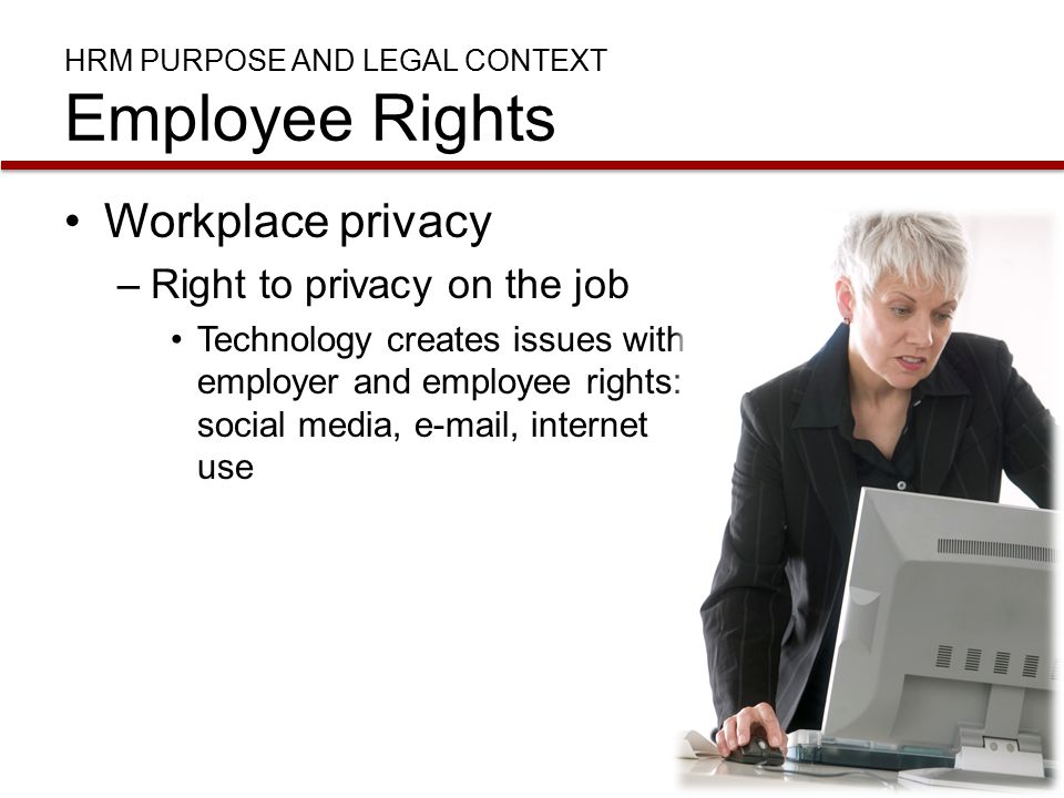 a discussion on the monitoring in the workplace and the right to employee privacy Position belies the fact that the fundamental claim of workplace privacy is not a claim employee monitoring concludes right to e-mail privacy in the.