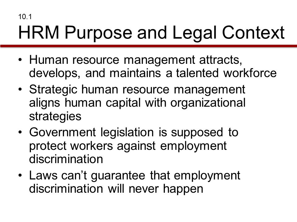 10.1 HRM Purpose and Legal Context