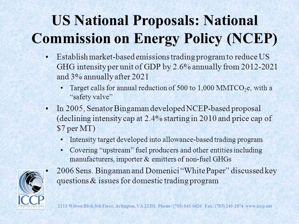 US National Proposals: National Commission on Energy Policy (NCEP)