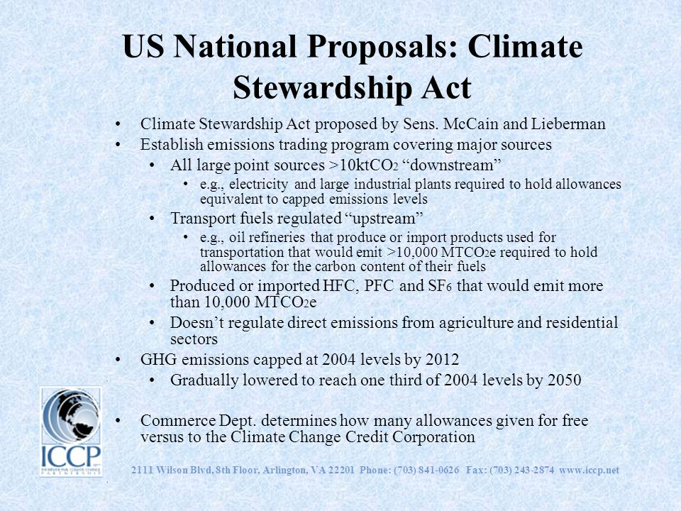US National Proposals: Climate Stewardship Act