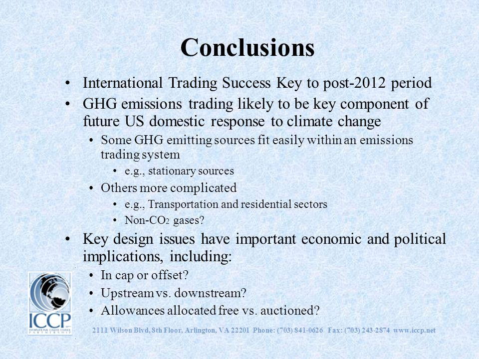 Conclusions International Trading Success Key to post-2012 period
