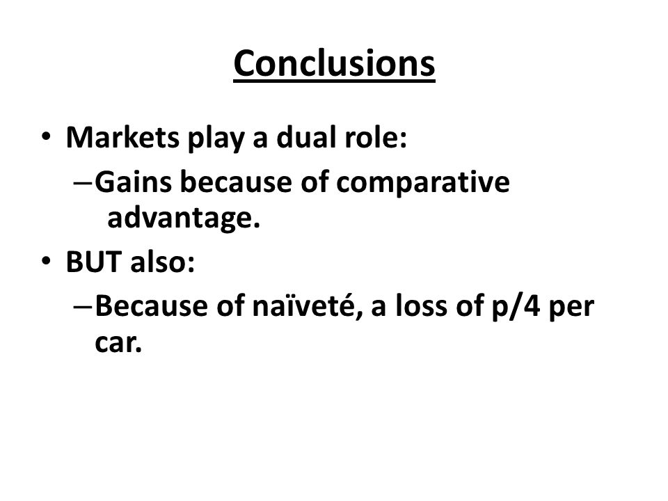 Conclusions Markets play a dual role: