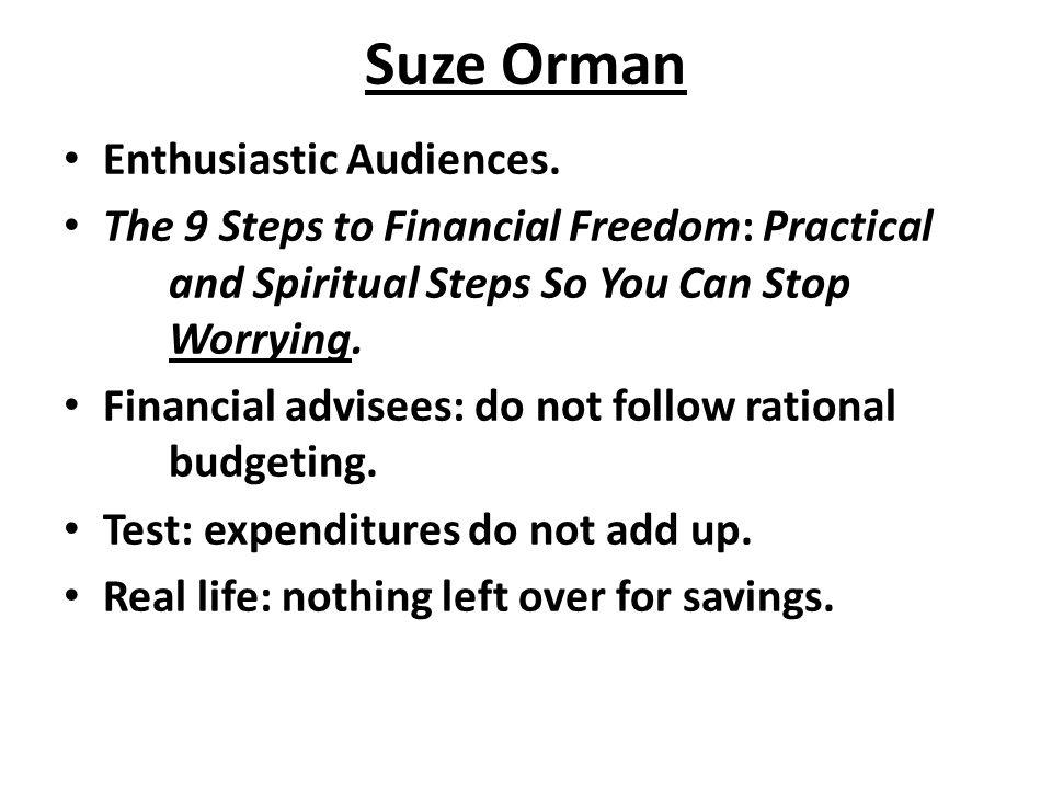 Suze Orman Enthusiastic Audiences.