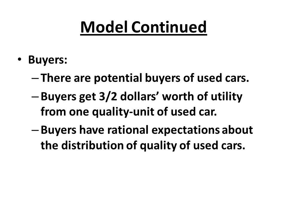 Model Continued Buyers: There are potential buyers of used cars.