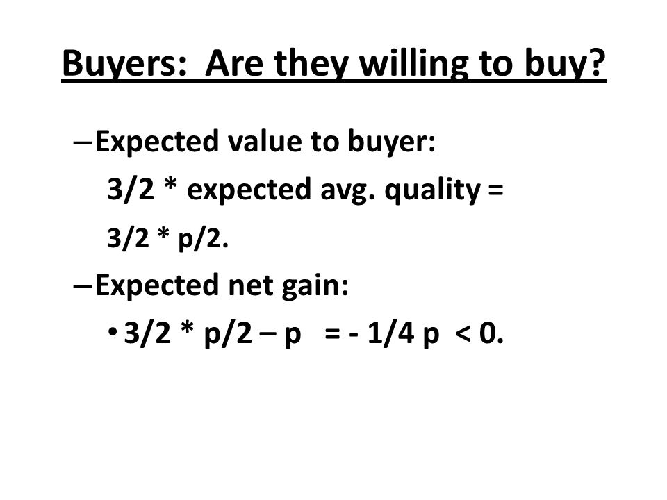 Buyers: Are they willing to buy