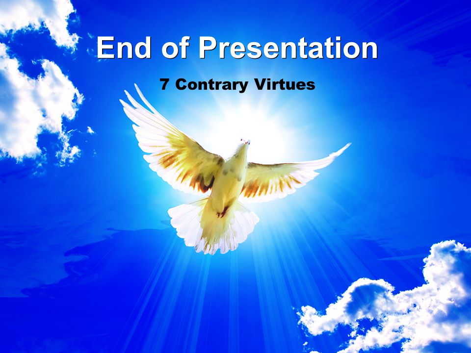 End of Presentation 7 Contrary Virtues