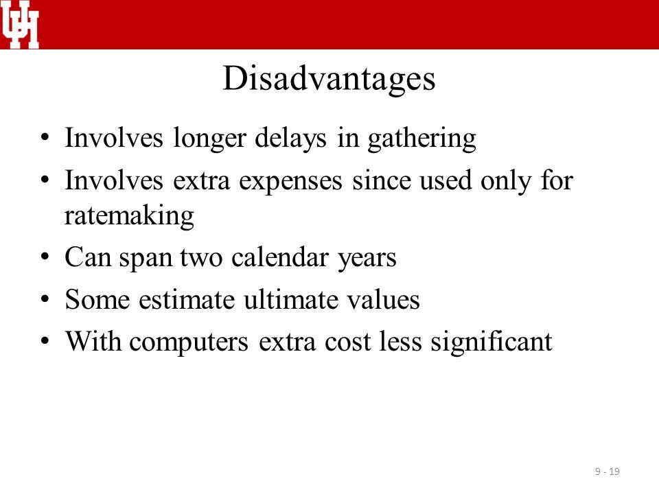 Disadvantages Involves longer delays in gathering