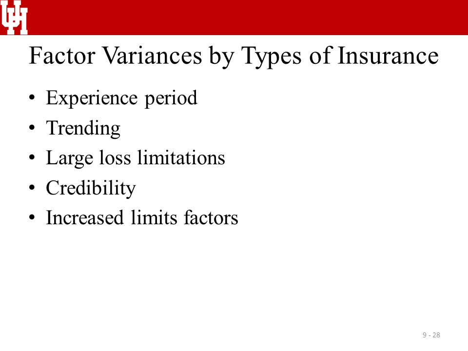 Factor Variances by Types of Insurance