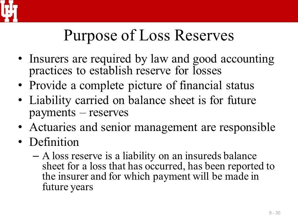 Purpose of Loss Reserves