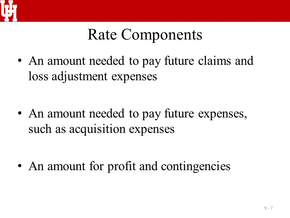 Rate Components An amount needed to pay future claims and loss adjustment expenses.