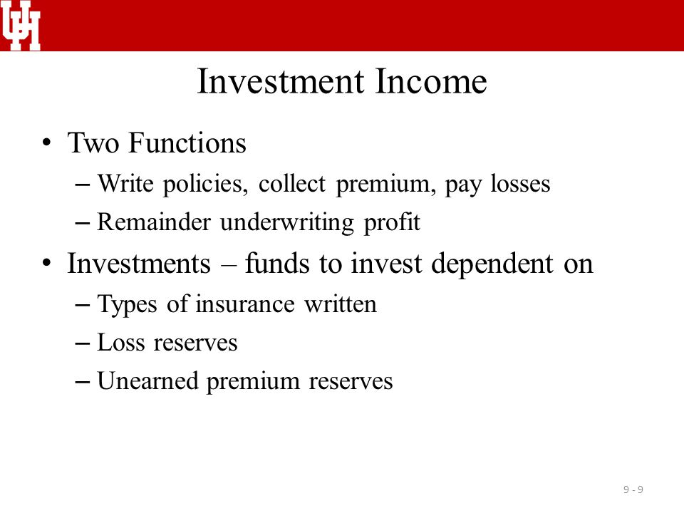 Investment Income Two Functions
