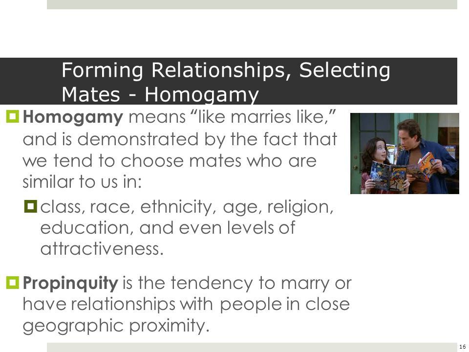 Forming Relationships, Selecting Mates - Homogamy
