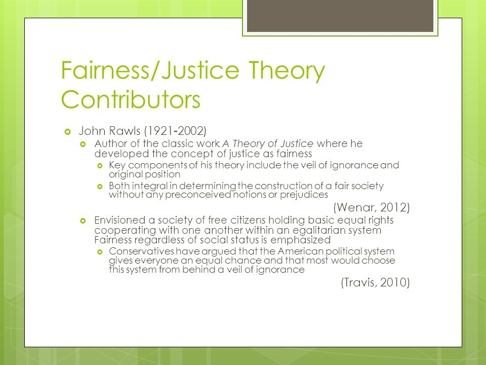 Fairness/Justice Theory Contributors