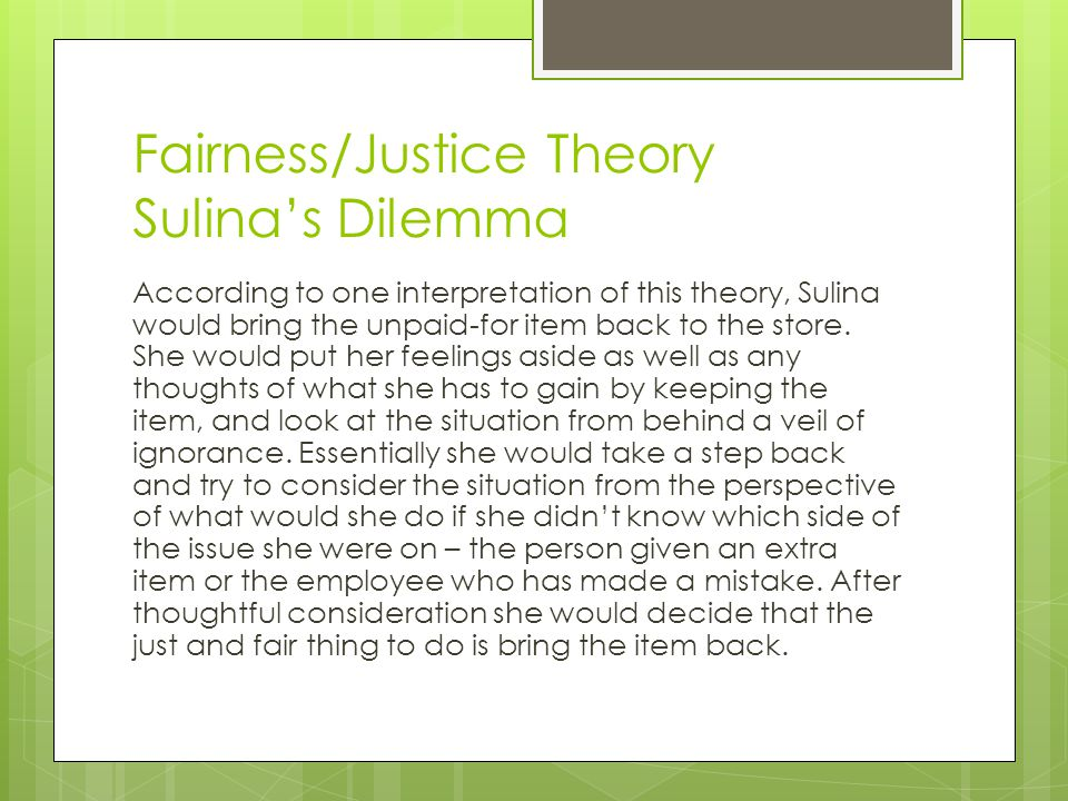 Fairness/Justice Theory Sulina's Dilemma