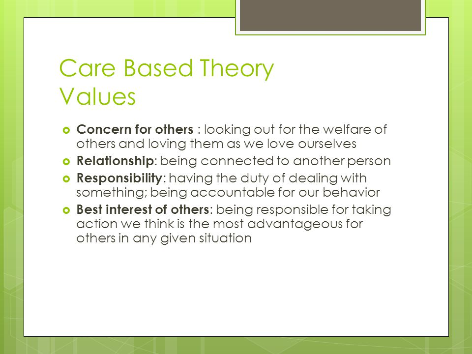 Care Based Theory Values