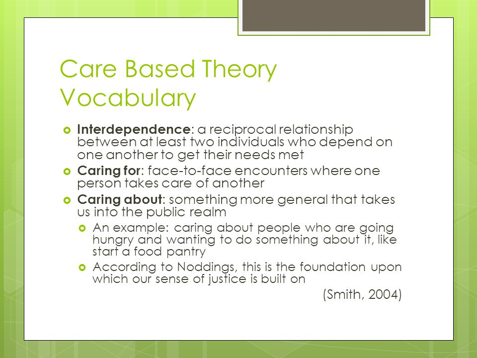 Care Based Theory Vocabulary