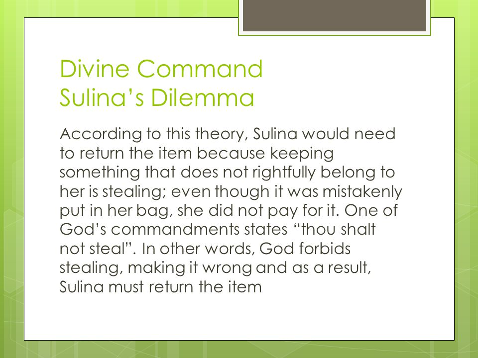 Divine Command Sulina's Dilemma