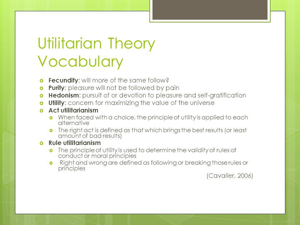Utilitarian Theory Vocabulary