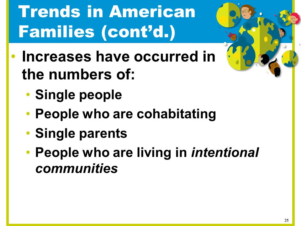 Trends in American Families (cont'd.)
