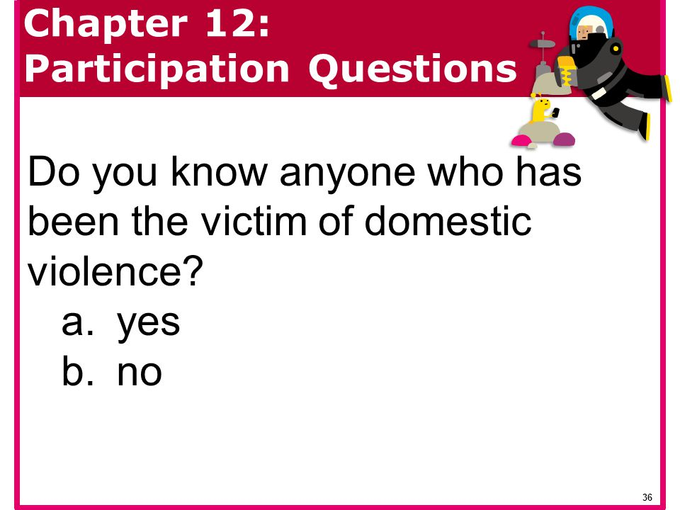 Do you know anyone who has been the victim of domestic violence