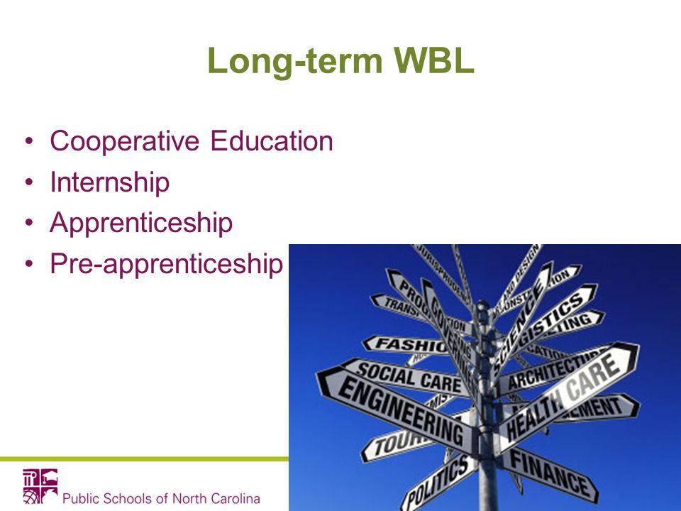 Long-term WBL Cooperative Education Internship Apprenticeship