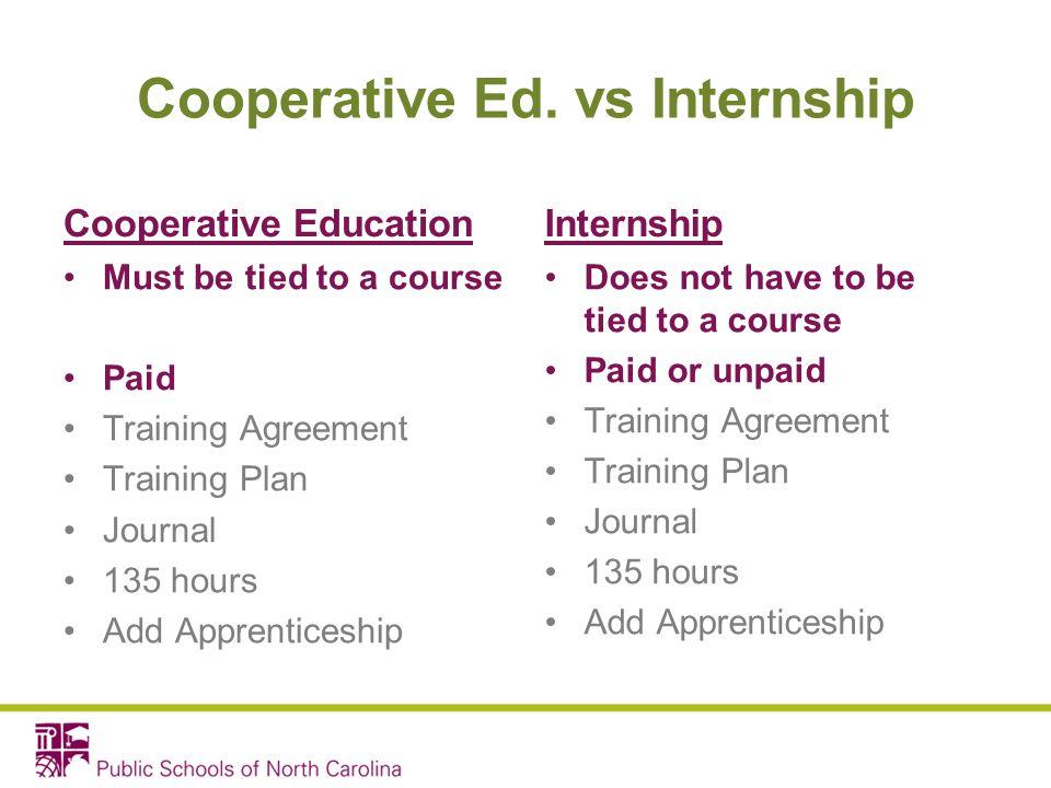 Cooperative Ed. vs Internship