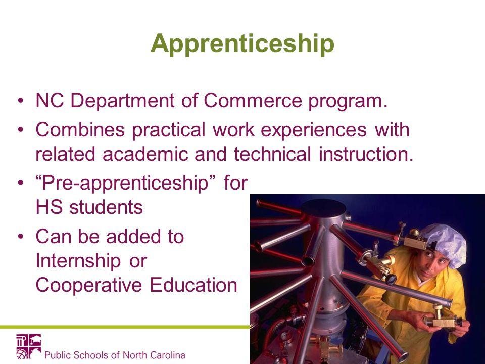 Apprenticeship NC Department of Commerce program.