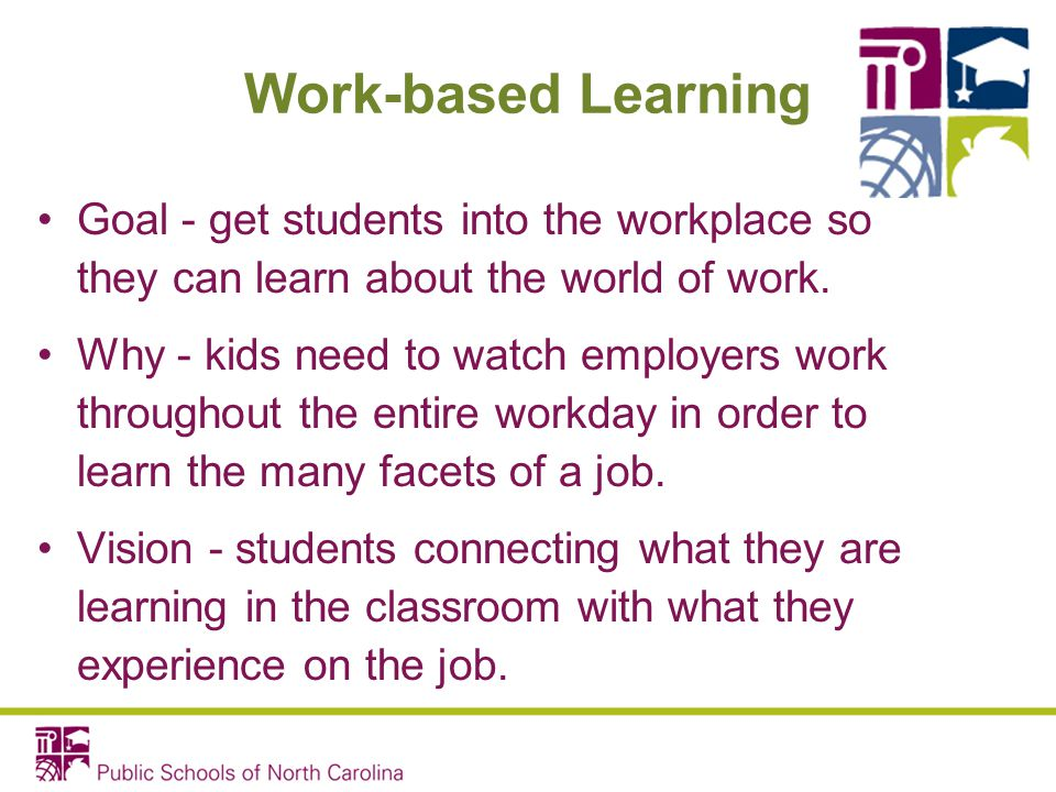 Work-based Learning Goal - get students into the workplace so they can learn about the world of work.