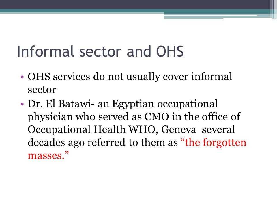 Informal sector and OHS