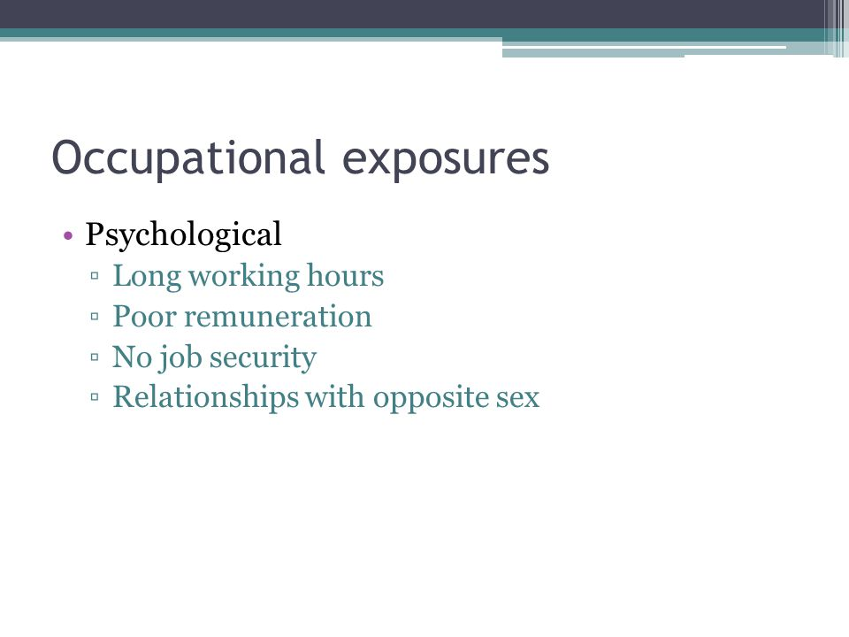 Occupational exposures