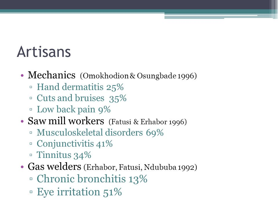 Artisans Chronic bronchitis 13% Eye irritation 51%