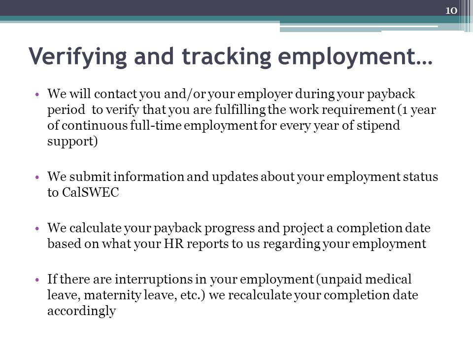 Verifying and tracking employment…