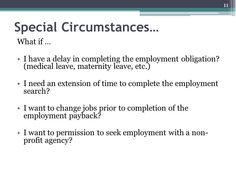Special Circumstances…