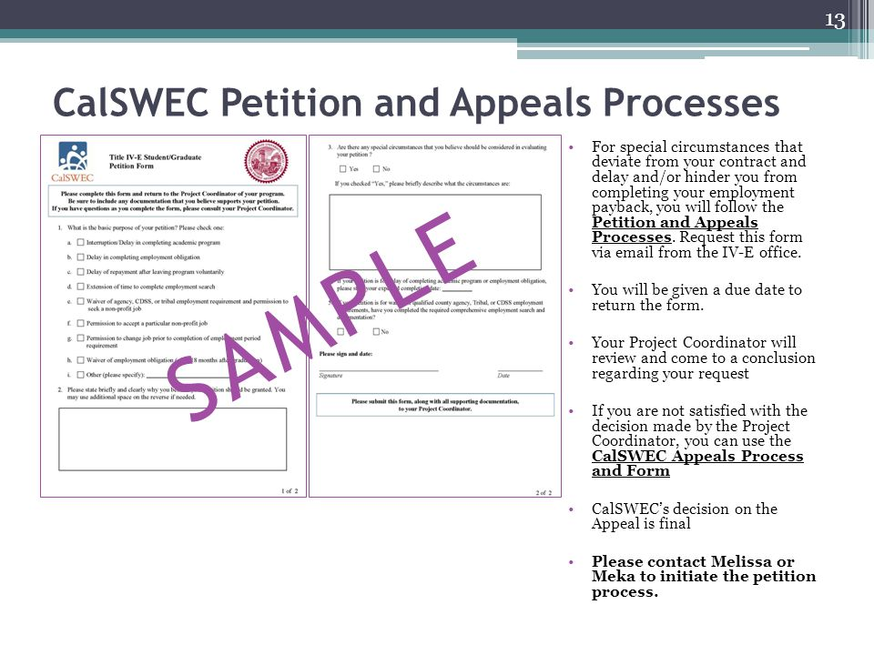 CalSWEC Petition and Appeals Processes