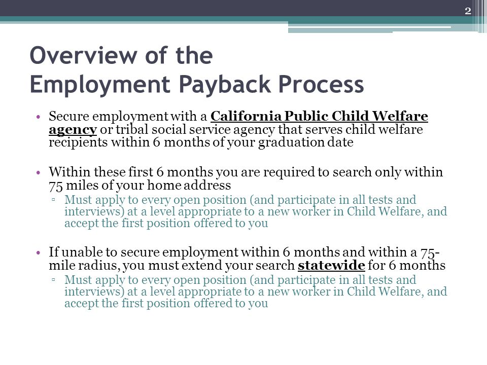 Overview of the Employment Payback Process
