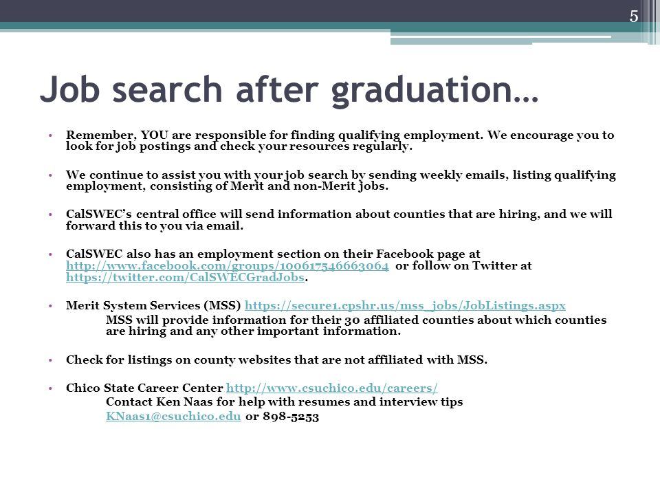 Job search after graduation…