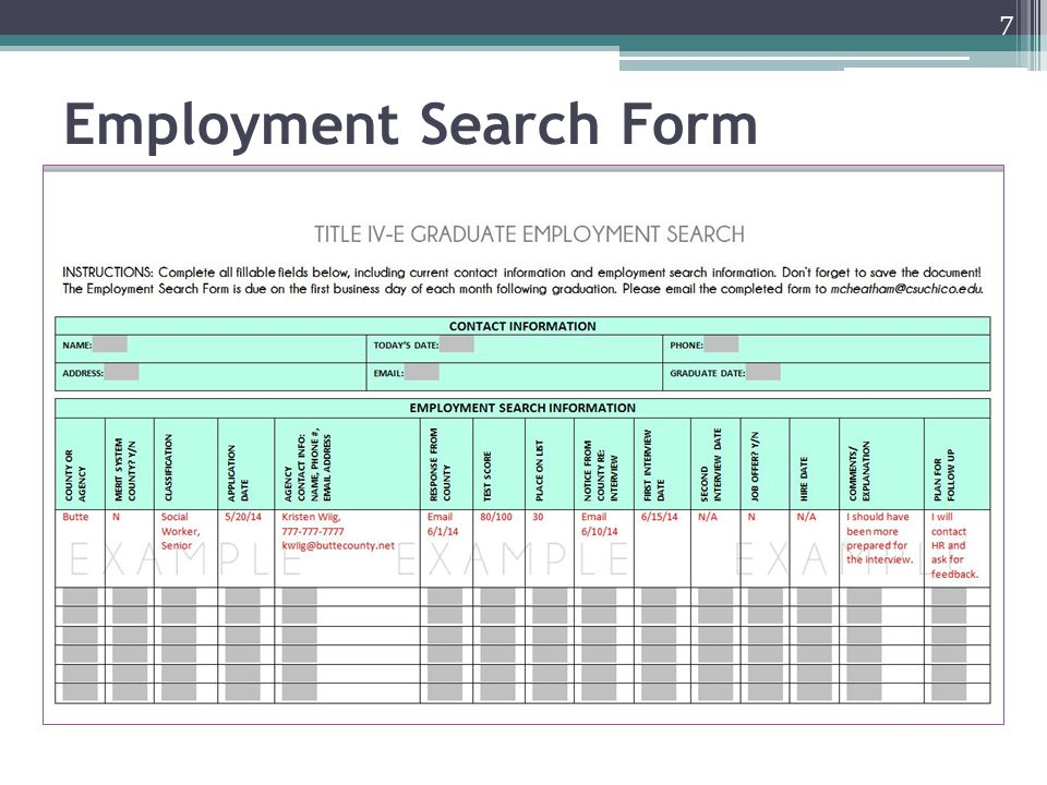 Employment Search Form