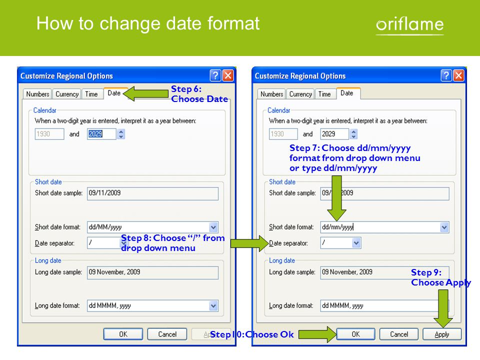 How to change date format
