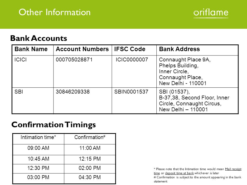 Other Information Bank Accounts Confirmation Timings Bank Name