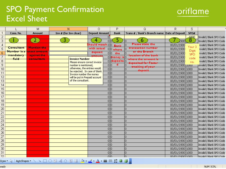 SPO Payment Confirmation Excel Sheet