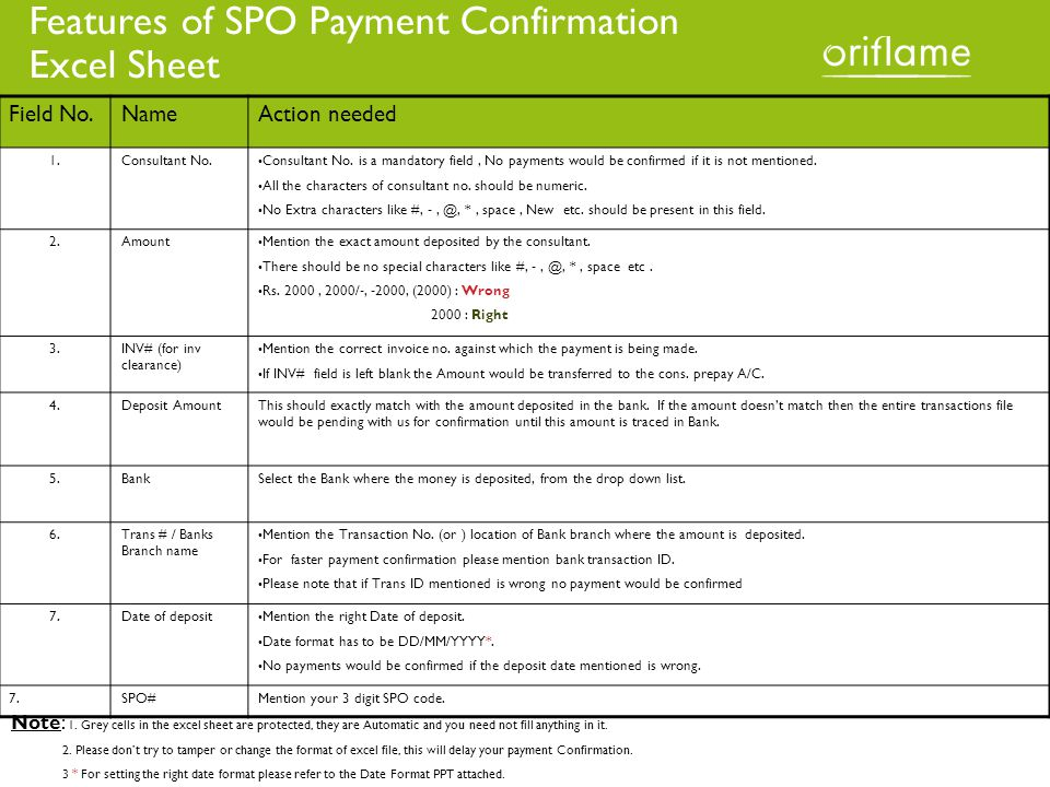 Features of SPO Payment Confirmation Excel Sheet