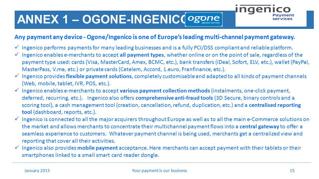 ANNEX 1 – OGONE-INGENICO