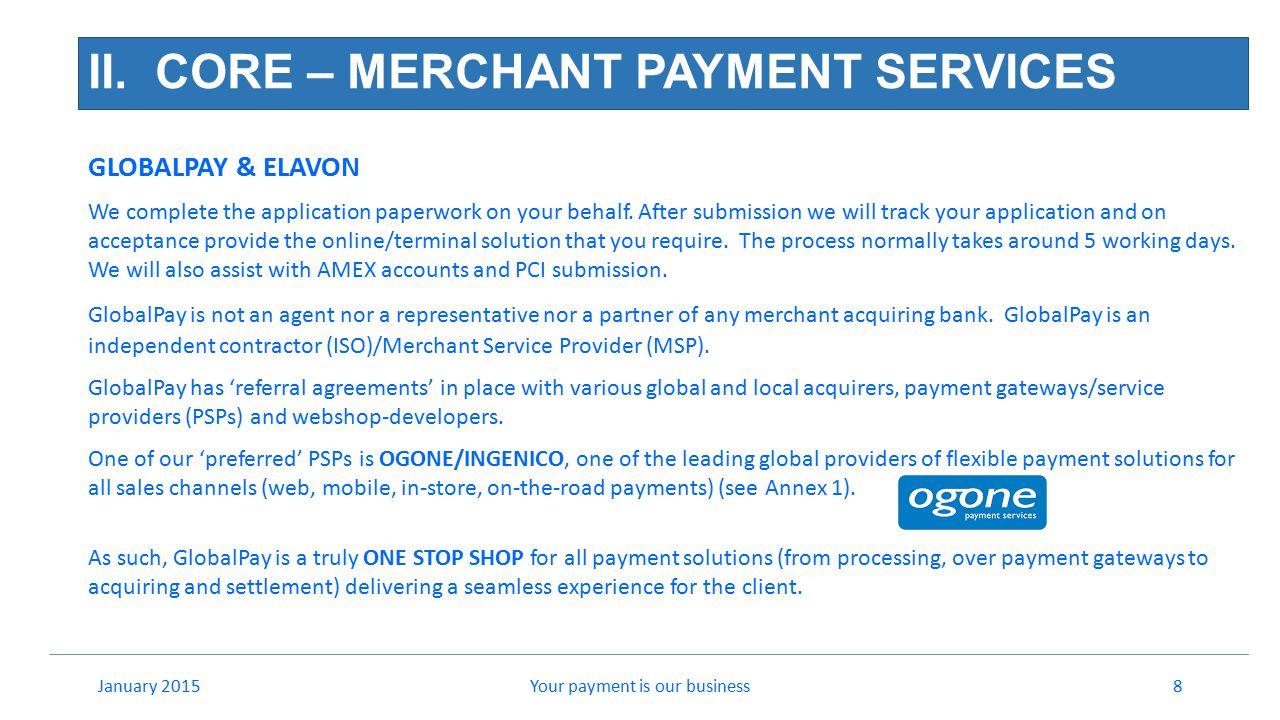 II. CORE – MERCHANT PAYMENT SERVICES