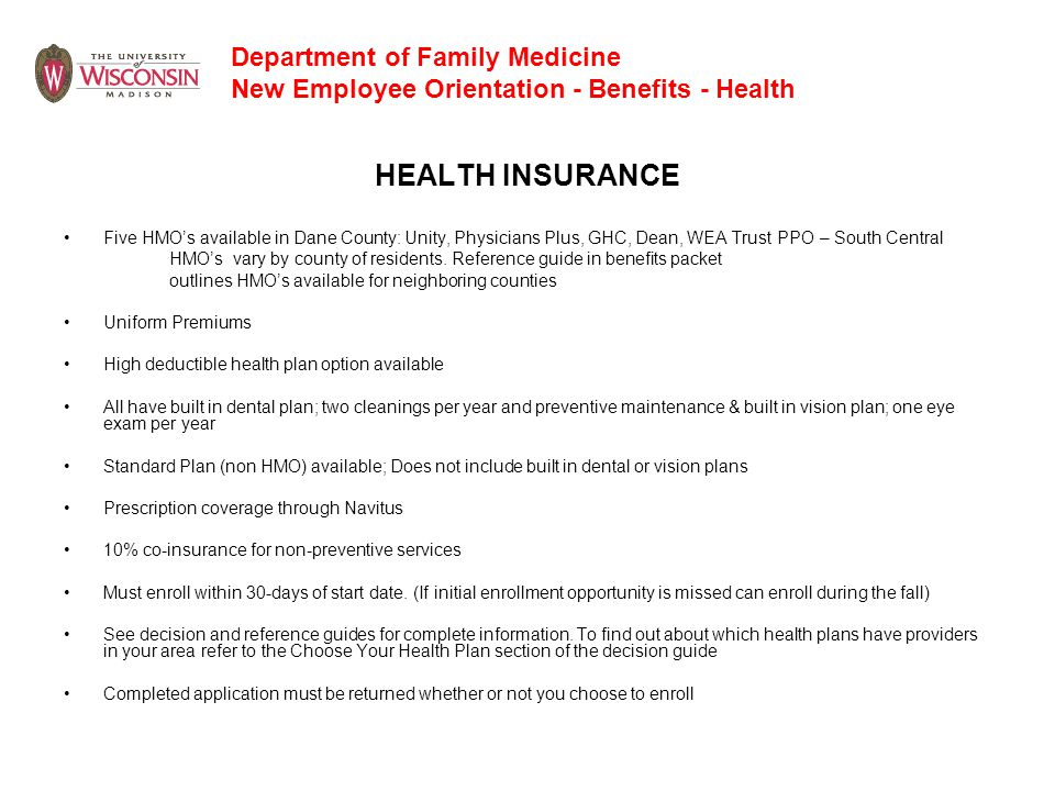 Department of Family Medicine New Employee Orientation - Benefits - Health